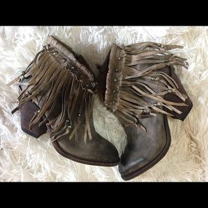 Lucchese fringe handmade ankle boots Farrah beaded